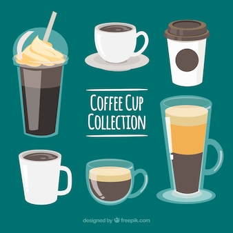 Set of six different coffee cups