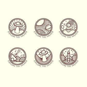 Set of six different space related outline illustrations