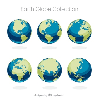 Set of six earth globes