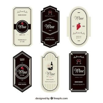 Set of six elegant wine labels with red details