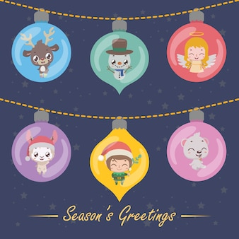 Set of six festive baubles with christmas characters