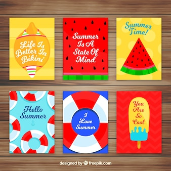 Set of six flat cards with summer elements