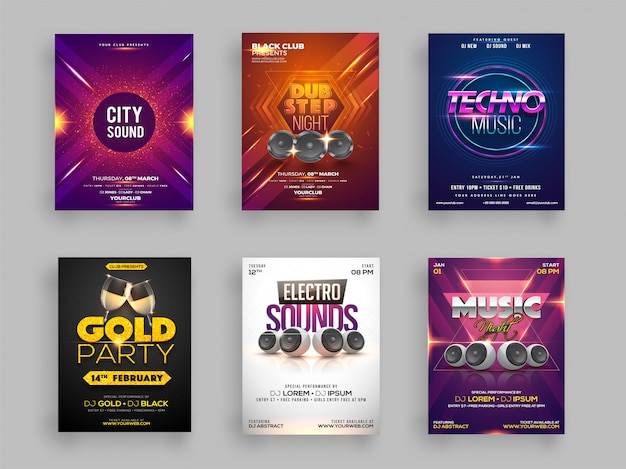 Set of six flyer or template design