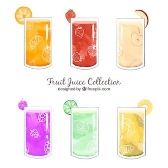 Set di sei succhi di frutta in stile acquerello Vettore gratuito