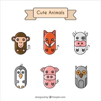 Set of six geometric animals
