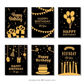 Set of six golden birthday cards