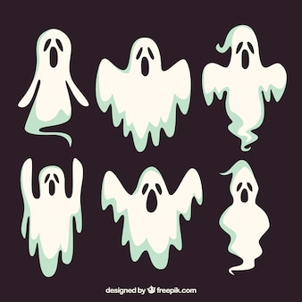 Set of six halloween ghosts