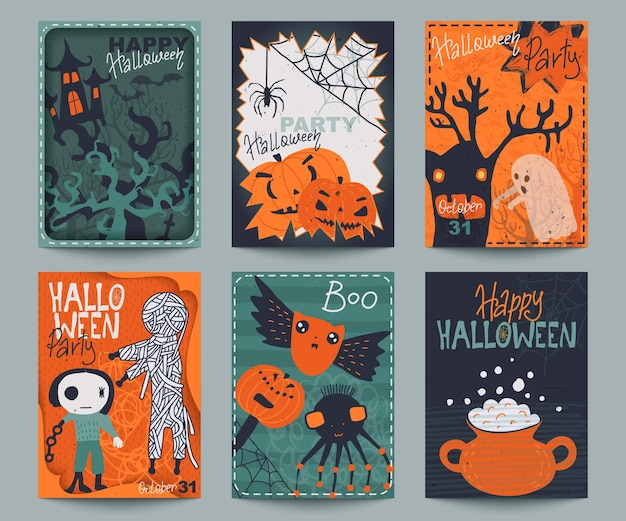 Set of six halloween posters or greeting card with cute holiday simbols