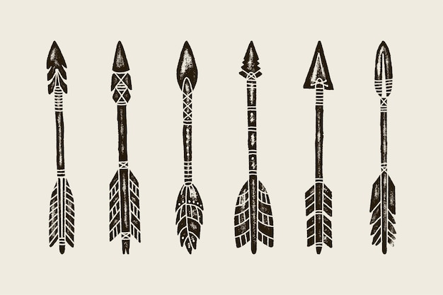A set of six hand draw ethnic indian arrow. vector illustration of hipster arrows isolated on white background with grunge texture. template for creating logos, prints on t-shirts, patterns and other