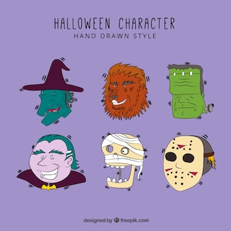 Set of six hand drawn halloween characters