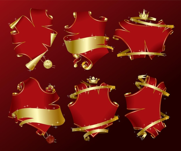 Set of six holiday red parchment-shaped banners with gold ribbons in sparkles. vector illustration.