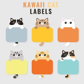 Set of six kawaii cute cat photo frames