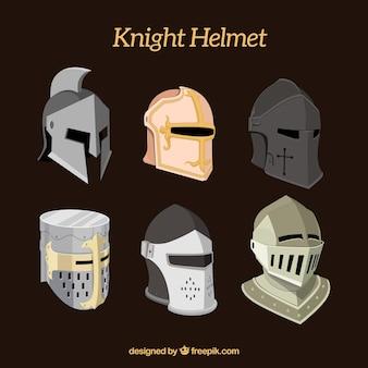 Set of six knight helmets
