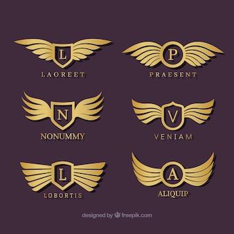 Set of six luxury wings logos
