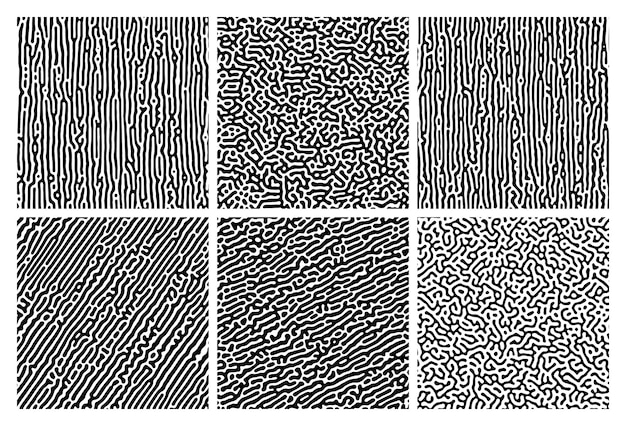 Set of six monochrome turing reaction gradient backgrounds. abstract diffusion pattern with chaotic shapes. vector illustration.