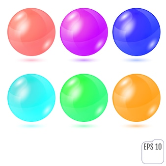 Set of six multicolored realistic colored spheres