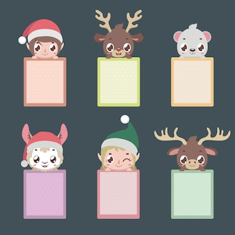 Set of six notepads with christmas characters