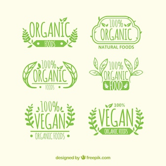 Set of six organic food labels