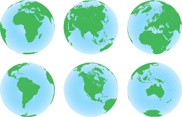Set of six planet earth globes with green land map