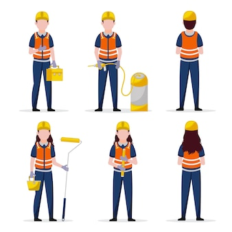 Set of six posses of engineer's day characters premium vector
