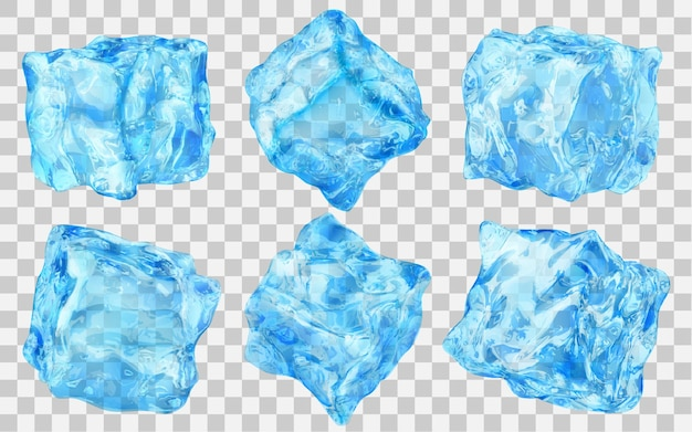 Set of six realistic translucent ice cubes in light blue color on transparent