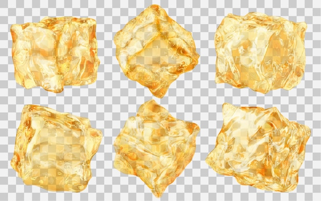 Set of six realistic translucent ice cubes in yellow color isolated on transparent background