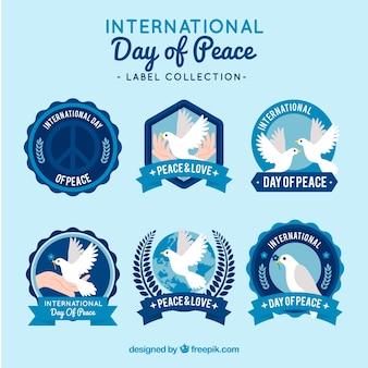 Set of six retro peace day stickers