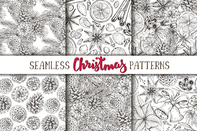 Set of six seamless patterns with pine cones
