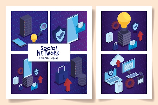 Set of six social network with icons