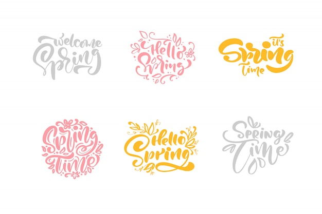 Set of six spring time pastel calligraphy lettering phrases. hand drawn isolated text