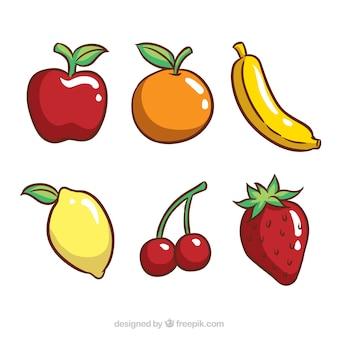 Set of six tasty fruits