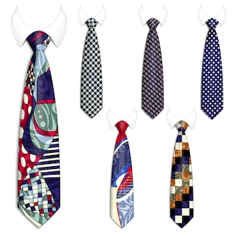 Set of six ties for men's suits.