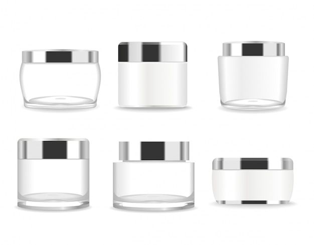 Set of six transparent cosmetic tubes.