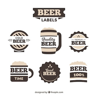 Set of six vintage beer labels