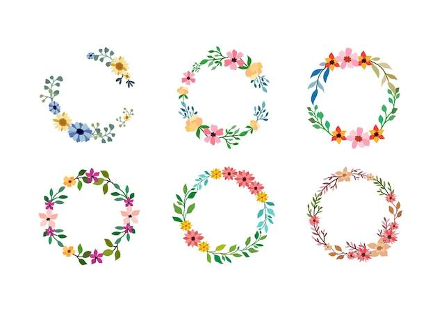Set di sei cornice fiore dell'acquerello su bianco