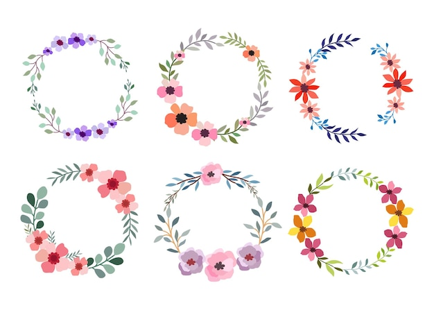 Set of six watercolor flower frame on white