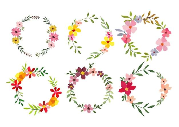 Set di sei cornice fiore dell'acquerello su bianco Vettore gratuito