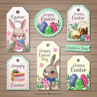 Set of six watercolor labels for easter day