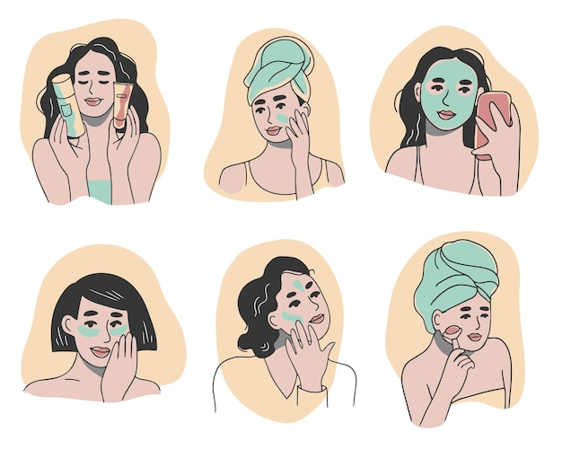 Set of six women applying various skincare products to their faces