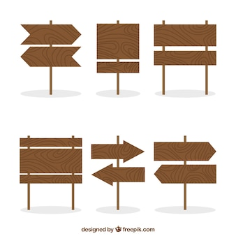 Set of six wood signs in flat design