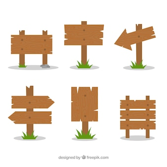 Set of six wooden signs in flat design