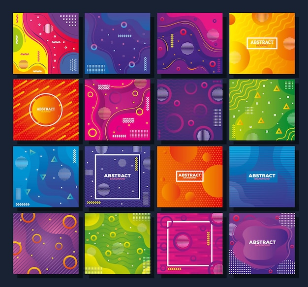 Set of sixteen colorful memphis abstract backgrounds