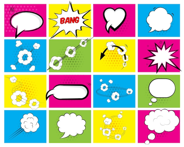 Set of sixteen different brightly colored vector speech bubbles with an oval