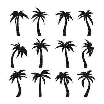 Set of sixteen different dark silhouettes of cartoon palm trees isolated on white background. vector illustration