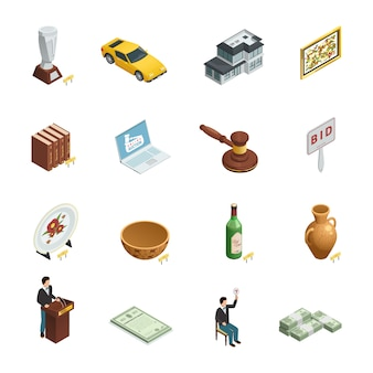 Set of sixteen isolated auction isometric icons with bidding paddle hammer valuable goods