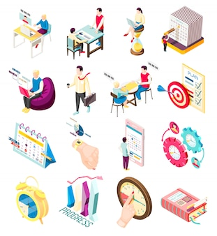Set of sixteen isolated effective management concept isometric icons with personal organizer items and people characters