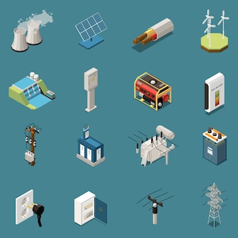 Set of sixteen isolated electricity isometric icons with images of various domestic and industrial electrical infrastructure elements