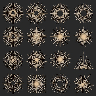 Set of sixteen line light rays