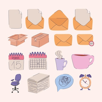 Set of sixteen office icons