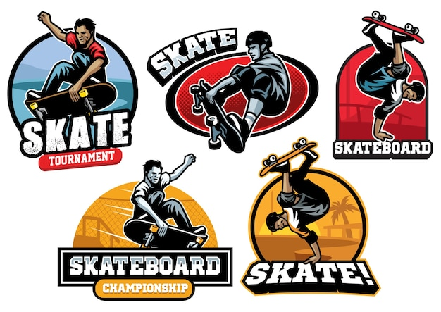 Set of skate badge design isolated on white